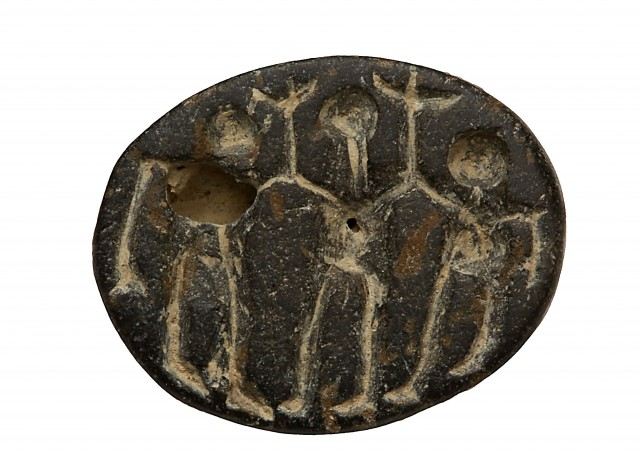 This stone seal, likely depicting a ritual dance, was found at the Abel Beth Maacah