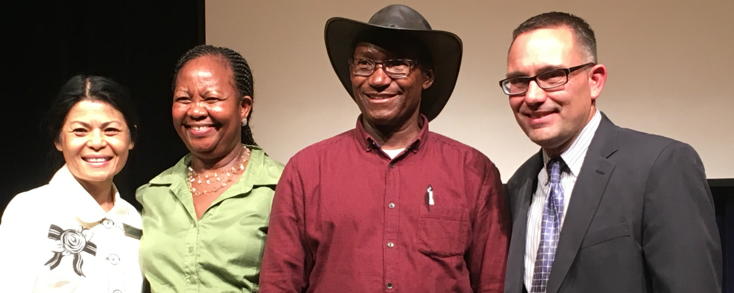 Left to right: Fawn Imboden, vice president and chief development officer of America's Christian Credit Union, Esther and Charles Mully, and Robert Duke, Ph.D., School of Theology dean.