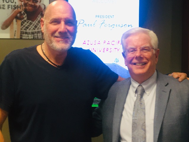 From left: KKLA radio host Frank Sontag with President Ferguson