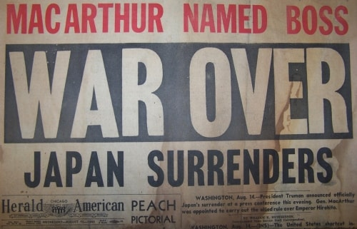MacArthur Named Boss. War Over: Japan Surrenders.