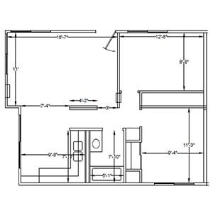 Shire Modular Plan A: 2 bedroom 1 bath