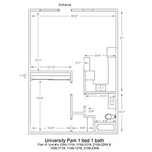 University Park 1 bed 1 bath. Plan A: Unit numbers 109A, 109B, 111A, 111B, 119A-121A, 119A-121B, 210A-226A, and 210B-226B
