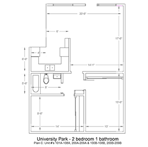 University Park 2 bed 1 bath. Plan C: Unit numbers 101A-108A, 100B-108B, 200A-209A, and 200B-209B