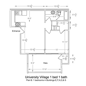 University Village 1 bed 1 bath. Plan B: 1 bedroom in Buildings E, F, N, O, and S