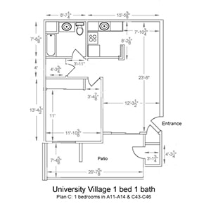 University Village 1 bed 1 bath. Plan C: 1 bedroom in A11-A14 and C43-C46
