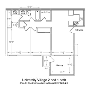 University Village 2 bed 1 bath. Plan D: 2 bedroom in buildings D, E, F, N, O, and S