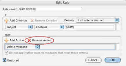 Screenshot of Entourage rule remove action button