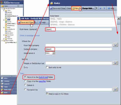 Illustration of webmail rules access