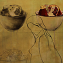 Alisa Barsegyan<br><em>Cheerios</em>, 2012<br>Watercolor on panel<br>12 x 15 in.