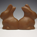 Christopher Rupp<br><em>Cojoined II</em>, 2011<br>Milk chocolate<br>6 x 2 x 4 in.
