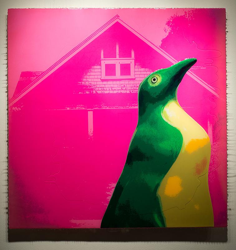 "Jeremie Riggleman<br><em>Penguin Monroe</em>, 2015<br>Acrylic, photos, and resin<br>36""x36"""