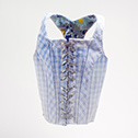 Laura Tabbut<br><em>Corset for The Wizard of Oz</em>, 2014<br>Fabric, Paper, Steel, Shoelace<br>15x11x5 in.
