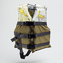 Laura Tabbut<br><em>Flotation Device: Ping</em>, 2014<br>Paper, Fabric, Plastic<br>15x12x5 in.