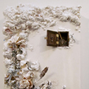 Marissa Quinn<br><em>Winter Womb</em>, 2012<br>Dried plants, resin, and found objects on canvas<br>2 x 1 ft.